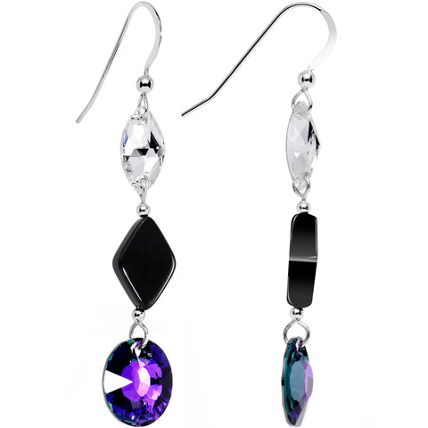 925 Silver Purple Midnight Earrings Created with Swarovski Crystals