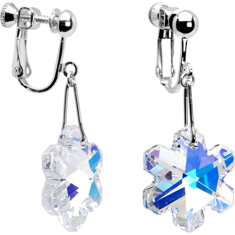 Aurora Snowflake Clip Earrings Created with Swarovski Crystals