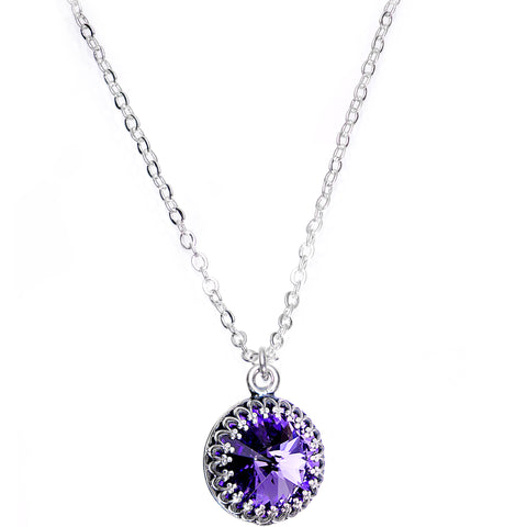 925 Silver Purple Bombastic Necklace Created with Swarovski Crystals