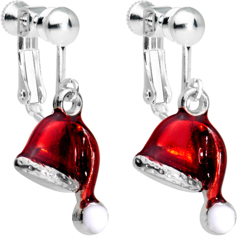 Silver Plated Red Santa Cap Christmas Clip On Earrings