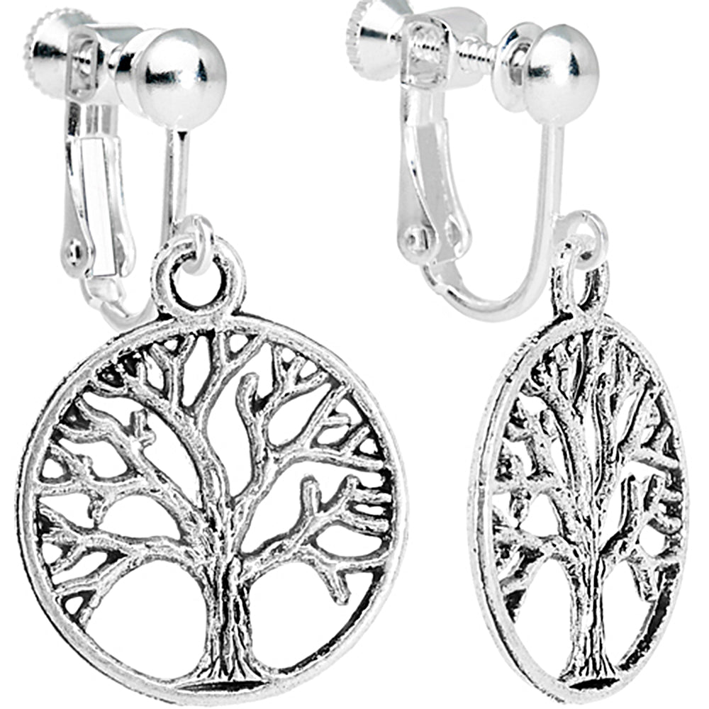 Silver Tone Tree of Life Clip On Dangle Earrings