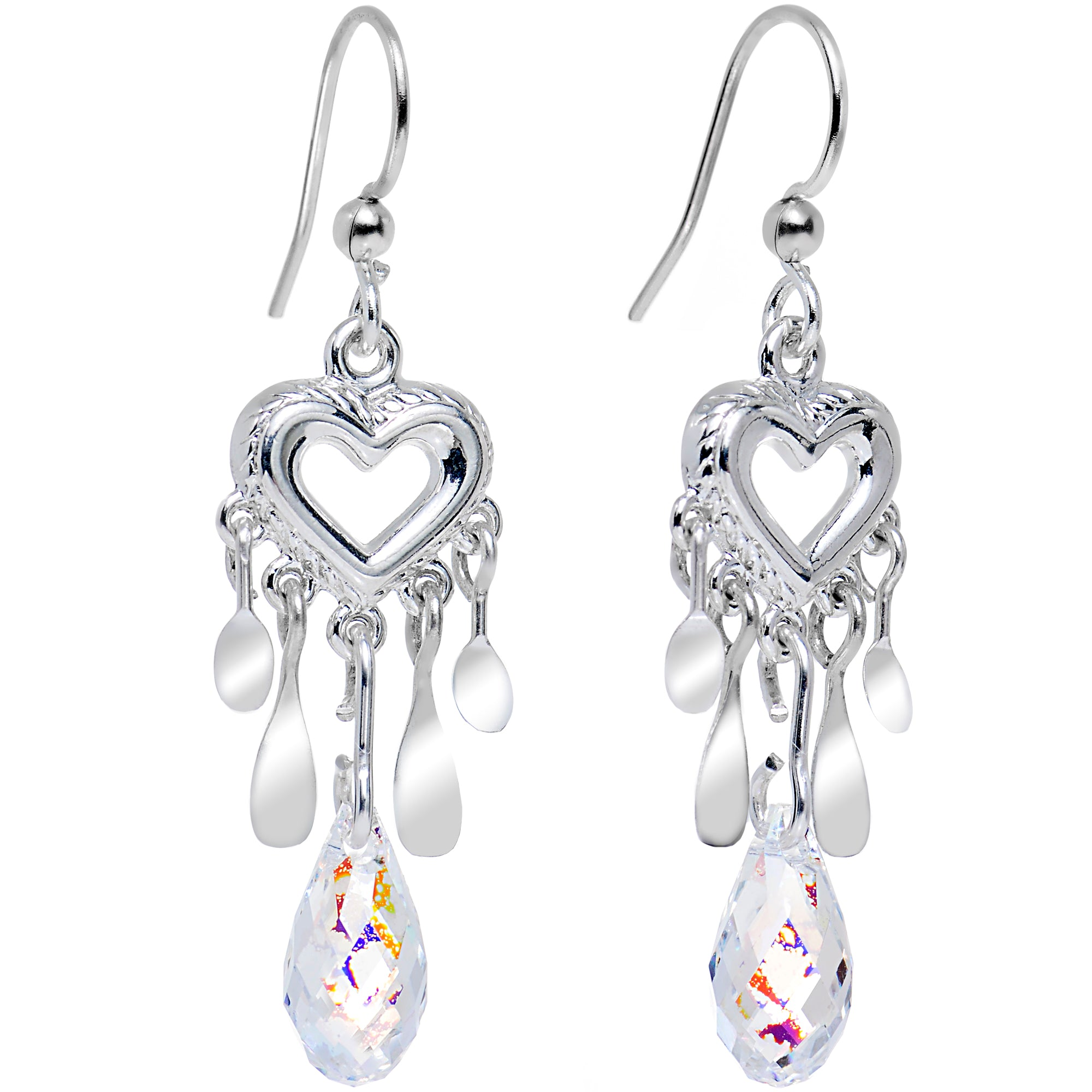 Handcrafted Clear Drop Heart Earrings Created with Swarovski Crystals