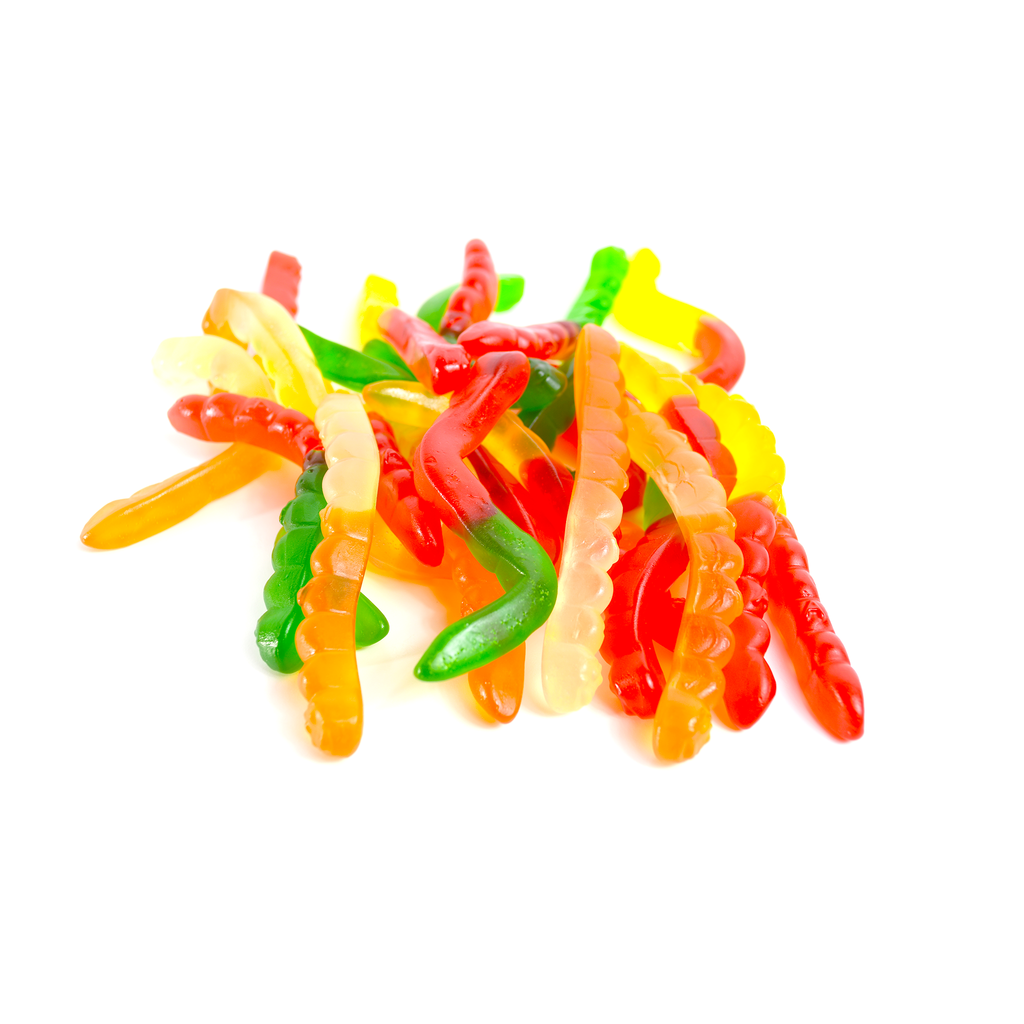 "Gummy Worms, Large Assorted Fruit  (4"" Gummy Candy)"