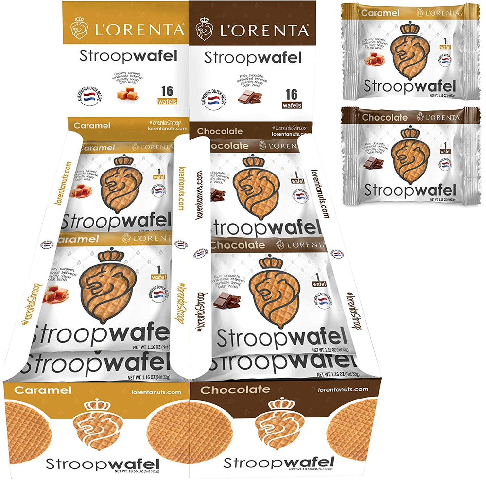 L'Orenta Single Serve Stroopwafel Caramel/Chocolate (Variety Pack - 32 Waffles)