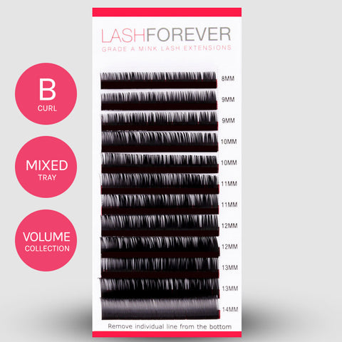 VOLUME LASH EXTENSIONS - B CURL - MIXED