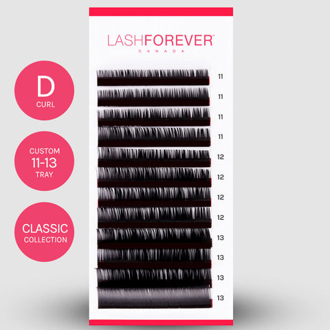 CLASSIC LASH EXTENSIONS - D CURL - CUSTOM MIXED - 11-13MM