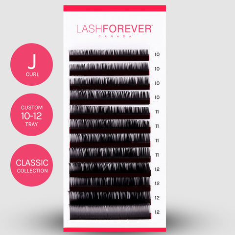 CLASSIC LASH EXTENSIONS - J CURL - CUSTOM MIXED - 10-12MM
