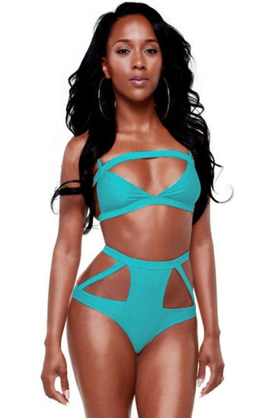 Blue Sexy Hollow Out High-Waisted Bikini Womens Swimsuit