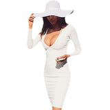 Winter Warm Fabric Deep V-neck White Casual Party Dress Vestidos Long Sleeve Bandage Sexy Club Night Wear Bodycon Dress