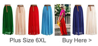 SUNSHINY Slim Vintage Chiffon Maxi Skirt Pleated Elastic Waist long Style Spring Summer Autumn Fall Plus Size New XXXL AS-8E
