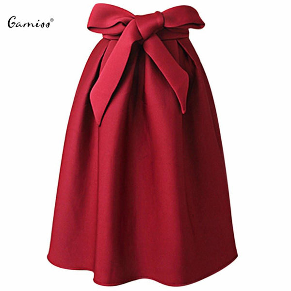 Gamiss Elegant Vintage Women Skirt High Waist Pleated Long Maxi Midi Skirt A Line Big Bow Red Black Side Zipper Skater Skirts