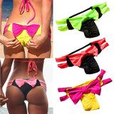 Hot Women Colorful Sexy Swimsuit Bow Elastic Swimwear Brazilian Bikini Beach Wear Halter Thong Push Up Women Bathing Suit