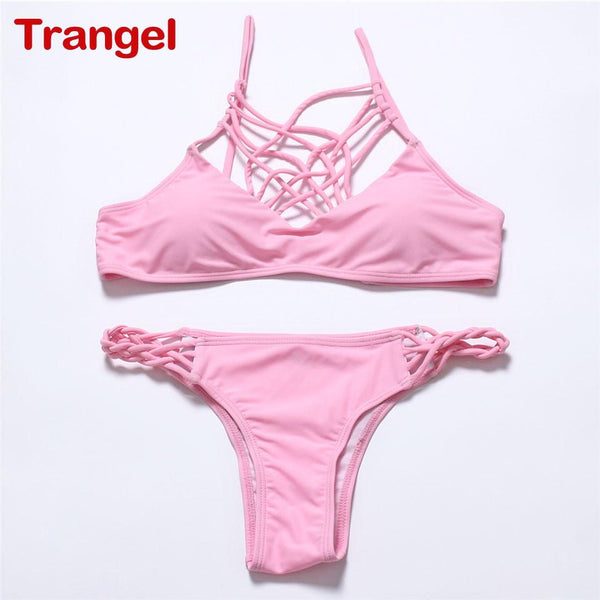 TRANGEL 2016 new sexy Padding swimwear crochet Bandage women swimsuit brazilian Bikini Maillot De Bain bathing suits