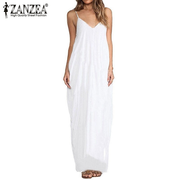 Zanzea  Summer Style Women Boho Strapless Sexy V Neck Sleeveless Dress Casual Loose Long Maxi Solid Dress Vestidos Plus Size