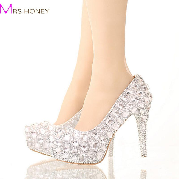 Bride Crystal Shoes Rhinestone Wedding Shoes Silver High Heel Platform  Event Shoes Women Handmade Fashion Party bcafbef130c1