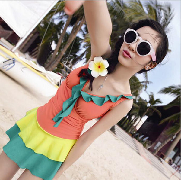 Female bathing suit Siamese Swimming suit Straight skirt Swimwear Conservative cover belly sexy gather Swimsuit Free shipping