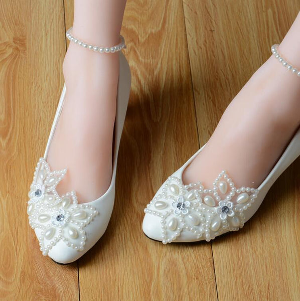 210b2c055 High Quality White Lace Pearls Women Wedding Shoes With Ribbons Lace Up  Ladies Party/Dress ...
