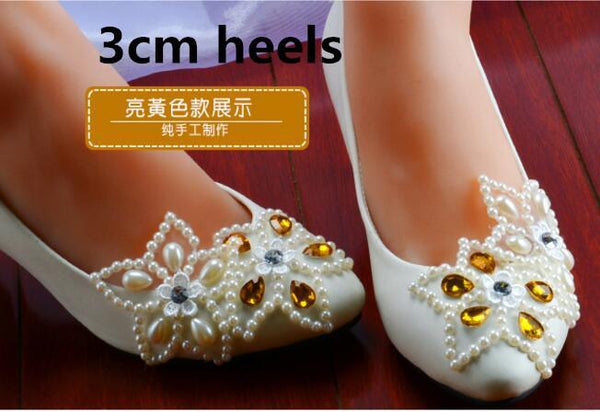 8eb0749b8 ... High Quality White Lace Pearls Women Wedding Shoes With Ribbons Lace Up  Ladies Party/Dress ...