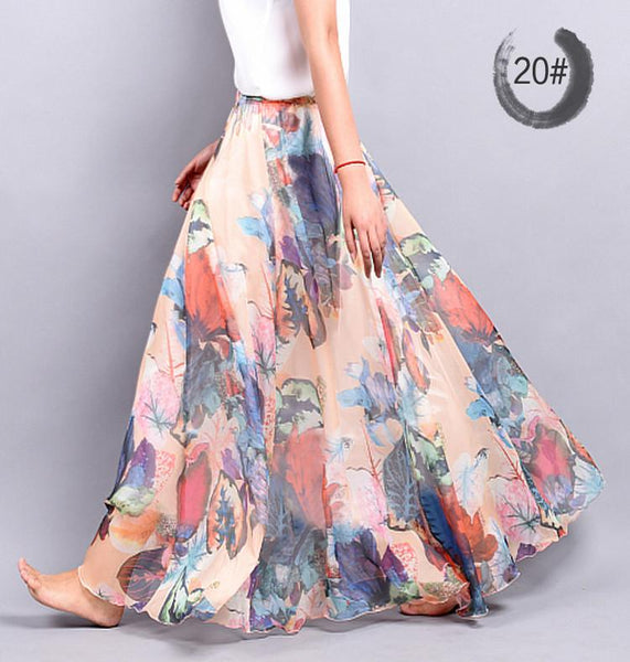 Fashion Casual Chiffon Skirt Summer  bohemian Floral Print Beach Maxi Pleated flower Long Skirt For Women