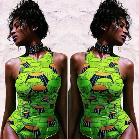 Sexy South African Print Halter Swimwear high waist swimsuit one pieces monokini women bathing suit vintage summer beach wear