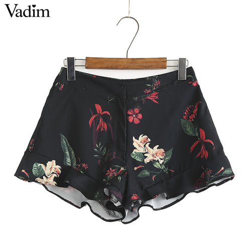 Women vintage floral shorts hem ruffles design high waist pleated ladies sweet summer casual loose brand shorts DK363