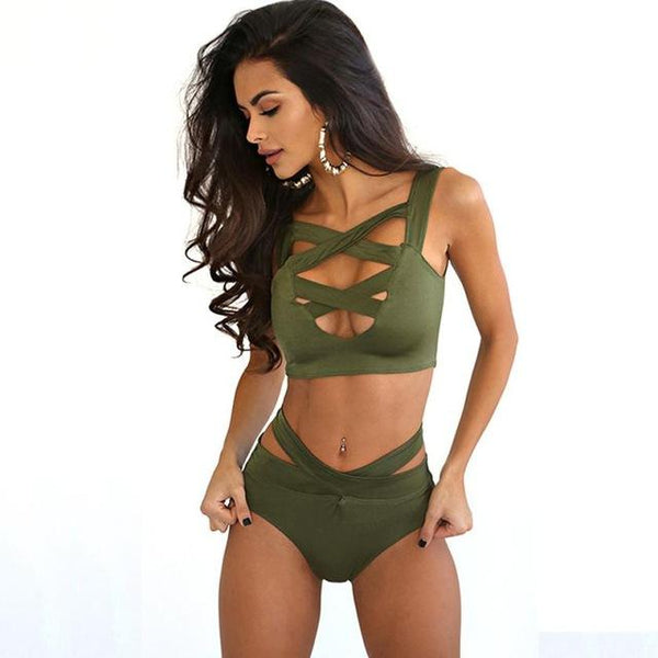 1Set Sexy Bikini Women Bandage Push-Up High Waist Swimwear Bikini Set Swimsuit Beachwear Nov23
