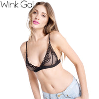 Wink Gal Sexy Mesh Tops For Women Female Underwear Lingerie Strappy Bralette Lace Bra 2735