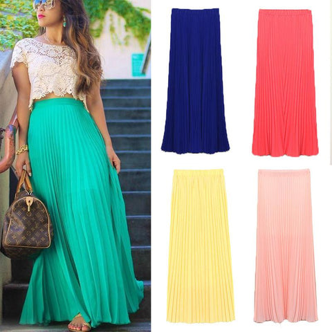 Fashion Baby  Fashion Long Chiffon Skirts Female Candy Color Pleated Maxi Womens Skirts