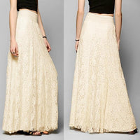 Good Quality Fashion Womens Lace Skirt Double Layer Elastic High Waist Elegant Ladies Maxi Long Skirts saias