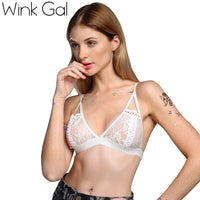 Wink Gal White Plunge Lace Bralette Triangle Bra Backless Floral Cutouts Bras For Women 1902