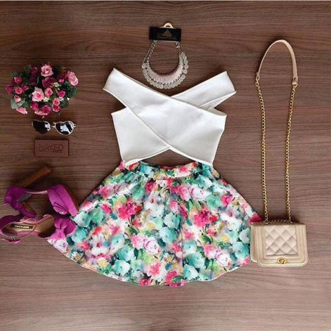 Wholesale 2016 Sexy Women Summer Floral Sleeveless Casual Evening White V Neck Top Short Shirt and Flower Colorful Mini Skirt