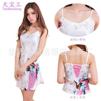 Women  Sexy Lace Silk Suspenders Silk Summer Autumn Princess Nightgown Casual Sleepwear Bandage Dress