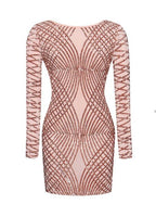 Womens Sexy Dresses Party Night Club Dress 2017 Hot New Fashion Bodycon Sequined Backless Dress Long Sleeves