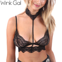 Wink Gal Sexy Lace Bralette Bra Top Hollow Out Plunge Neck With Halter Unlined intimates 3299