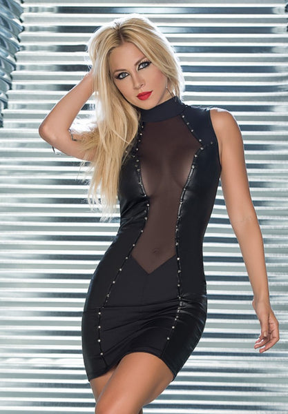 Sexy Punk PU Faux Leather Turtleneck Dress Mesh See Through Sexy Dress Gothic  Bodysuit Latex Club Wear Erotic F38