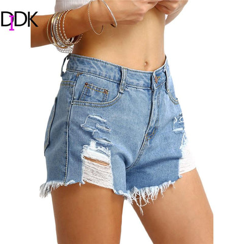 DIDK Ladies Summer New Hot Short Jeans Womens Ripped Light Blue Pockets Mid Waist Button Fly Straight Denim Shorts