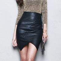New Asymmetric Short Leather Skirts Women Slim Thin Package Hip Saia Feminina High Waist Pencil Skirt S~L Black Jupe