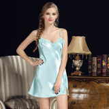 Women Sexy Nightgowns Lace Plus Size Sleep Dress Nightwear Silk Ladies Home Dress Summer Style