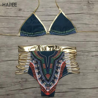 African swimwear Retro National Printed Swimwear golden halter bikini high waist swimsuit two pieces swimwear women bathing suit
