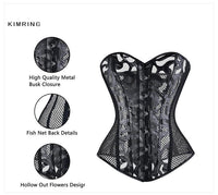 Kimring Sexy Mesh Bustier Corset Hollow Out Flowers Design Busk Closure Black Bustier Corset Body Shapewear Cincher Corselet