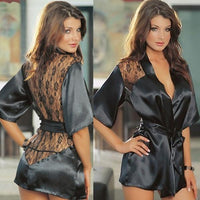 new Sexy Lingerie Satin Lace Black Kimono Intimate Sleepwear Robe Night Gown lingerie babydoll women lingerie QF083-2