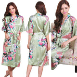 RB015 Satin Robes for Brides Wedding Robe Sleepwear Silk Pijama Casual Bathrobe Animal Rayon Long Nightgown Women Kimono XXXL