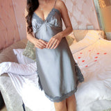 Sexy Spaghetti Strap Lingerie Women  New Lace Hem Sleepwear Dresses Nightwear Sleepwear Nightdress Nightgown