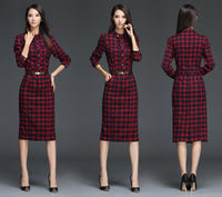 XXL New Ladies Office Wear Work Outfits Autumn Winter Long Sleeve Dresses British Elegant Plaid Bodycon Dress Women