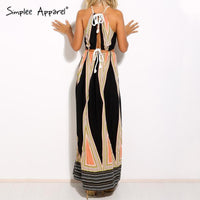 Simplee Apparel Sexy halter geometic print summer dress woman Elegant beach long dress Vintage side split maxi dress vestidos