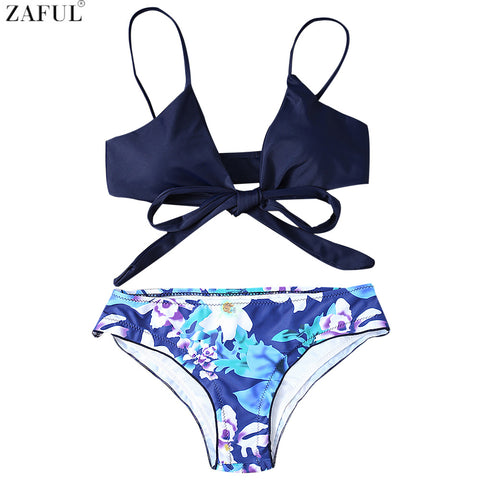 Zaful 2017 Women New Cute Halter Floral Print Wrap Bikini Set For Women Mid Waisted Brazilian Halter Unlined Swimsuit Bikini