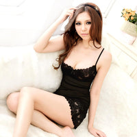 Short Sexy Lace Nightdress Sleeveless Nightgown Strap Strip Steel Bracket Bra Nightgowns Women Chemise De Nuit Sexy