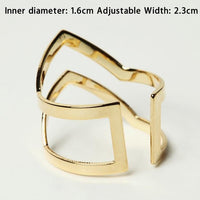 Vintage Gold Silver Tone Double V-shaped Adjustable Ring