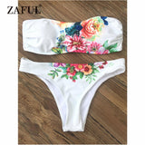 Zaful Bandeau New Floral Bikinis Set Beach Swimwear Sexy Swimsuit Women Biquini Surfing Bikinis Bathing Suit maillot de bain