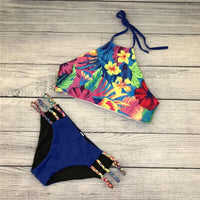 2018 Newest Sexy High Neck Retro Print Bikini Set Brazilian Retro Bathing Suits Swimwear Summer Cut Out Swimsuit